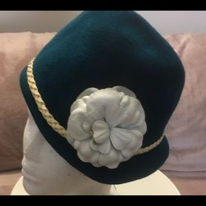 Turquoise hand made vintage hat